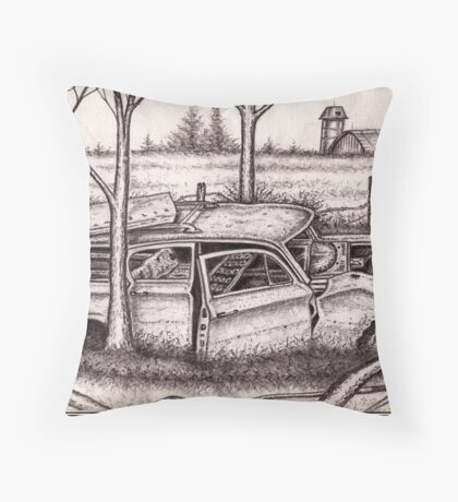 Old Abandoned Station Wagon Throw Pillow