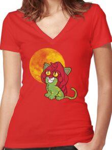 Battlekitty Women's Fitted V-Neck T-Shirt