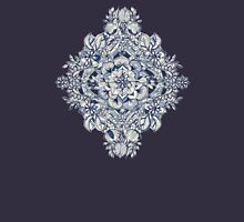 Floral Diamond Doodle in Dark Blue and Cream Womens Fitted T-Shirt