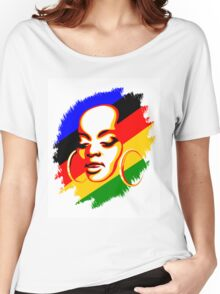 African Woman Face Print Template Women's Relaxed Fit T-Shirt