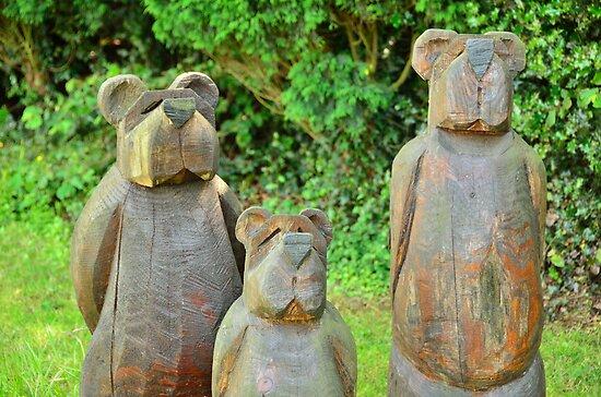 three bears in wood by Steve