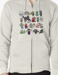 Cute Minecraft Mobs Zipped Hoodie