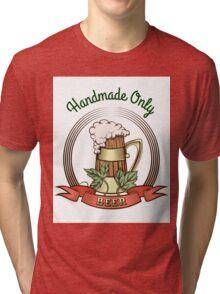 Beer Mug in Vintage Style Tri-blend T-Shirt