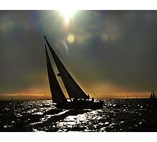 Sun Silhouette Sailing Photographic Print