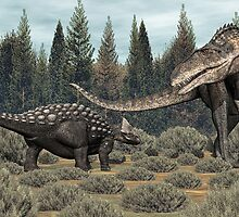 Ankylosaurus vs Acrocanthosaurus by Walter Colvin