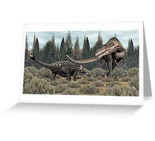 Ankylosaurus vs Acrocanthosaurus Greeting Card