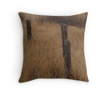 """""""Old Barbed Wire Fence Line"""" Throw Pillow"""