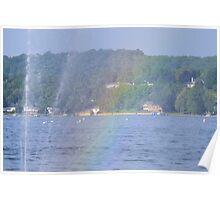 Rainbow & Floating Fountain - Canadaigua Lake Poster