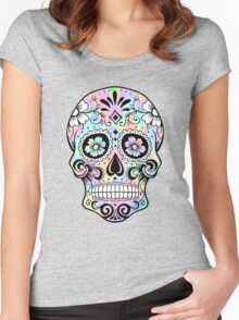 Sugar Skull Rainbow Women's Fitted Scoop T-Shirt