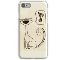 white cat singing iPhone Case/Skin