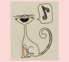 white cat singing Kids Tee