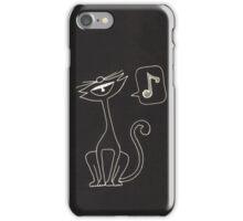 black cat singing  iPhone Case/Skin