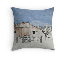 Old Snowy Country Barn Throw Pillow