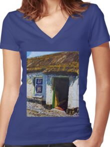 Ballinderry Forge Cottage, Cultra, County Down. Women's Fitted V-Neck T-Shirt