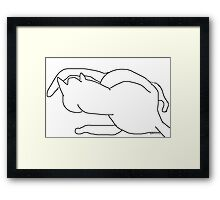cat/playing with tail -(190611)- digital art/ms paint Framed Print