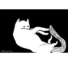 cat/playing with tail -(190611a)- digital art/ms paint Photographic Print
