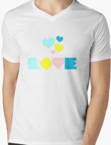 LOVE - cube text, cube heart shape Mens V-Neck T-Shirt