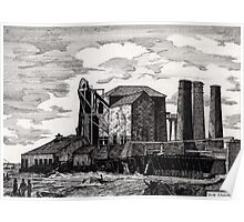 186 - NEW HARTLEY COLLIERY - DAVE EDWARDS - INK - 1991 Poster