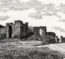 187 - BAMBURGH CASTLE - DAVE EDWARDS - INK - 1991 by BLYTHART