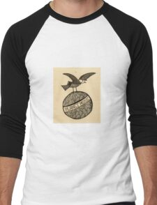 Planet music bird retro illustration Men's Baseball ¾ T-Shirt