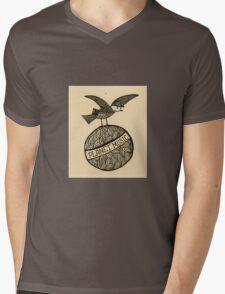 Planet music bird retro illustration Mens V-Neck T-Shirt