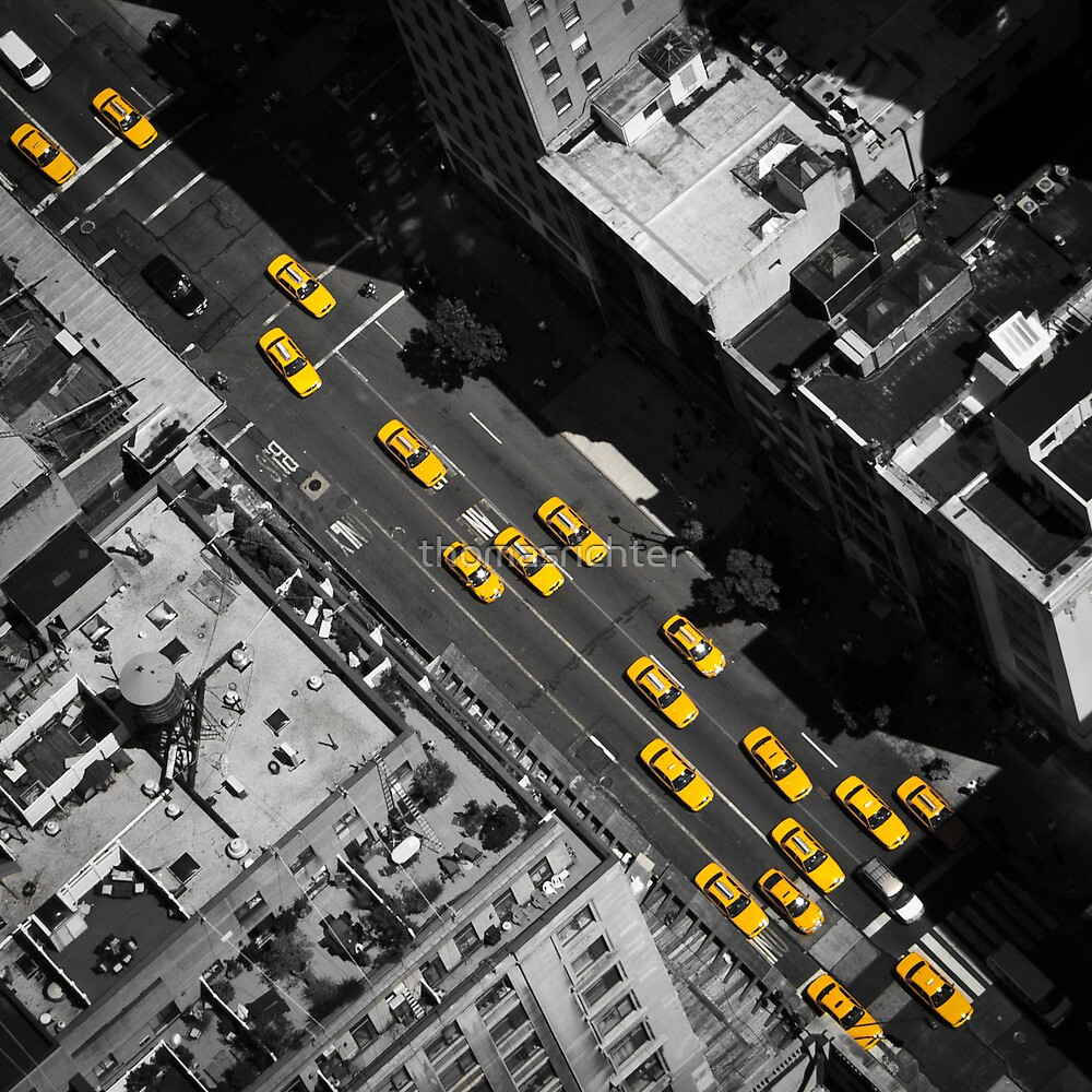New York City, Yellow Cabs | B/W by thomasrichter