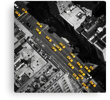 New York City, Yellow Cabs | B/W Canvas Print