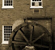 Wooden Water Wheel Historic Building by Sherry Hallemeier