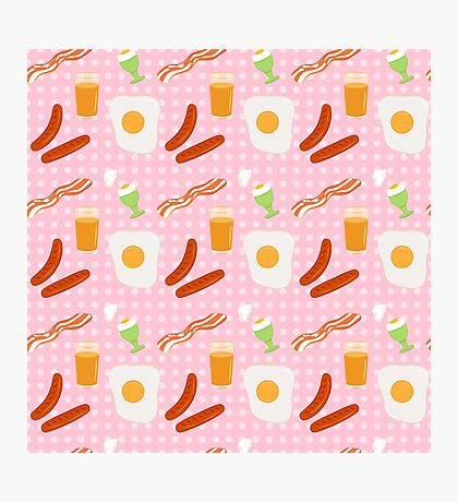 Egg and bacon breakfast seamless  print Photographic Print