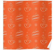 Seamless pattern with cakes and teacups Poster