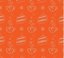 Seamless pattern with cakes and teacups by Katharina13