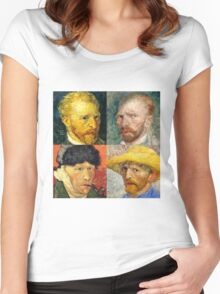 Vincent Van Gogh - 4 Self Portraits Women's Fitted Scoop T-Shirt