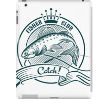 Badge or label with jumping salmon.   iPad Case/Skin