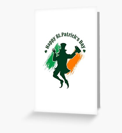 Saint Patricks Day emblem with joyful leprechaun.  Greeting Card