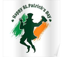 Saint Patricks Day emblem with joyful leprechaun.  Poster