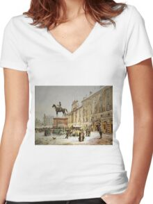 Austrian Christmas Market Women's Fitted V-Neck T-Shirt
