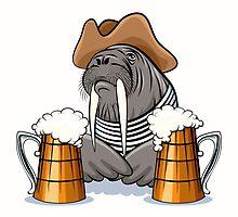 Humorous illustration of walrus with mugs full of beer.  by devaleta