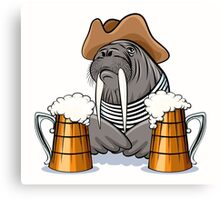 Humorous illustration of walrus with mugs full of beer.  Canvas Print