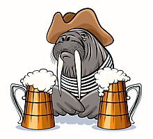 Humorous illustration of walrus with mugs full of beer.  Photographic Print