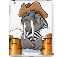 Humorous illustration of walrus with mugs full of beer.  iPad Case/Skin