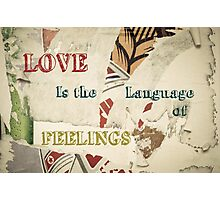 Inspirational message - Love is the language of feelings Photographic Print