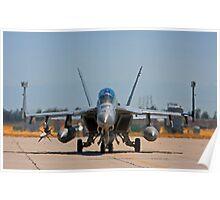 F 18 F/A Jet on the Tarmac Poster