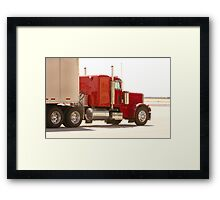 Bright Red Tractor with Trailer Framed Print