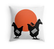 Chicken in the mask-Chris Tobar Throw Pillow
