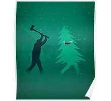 Funny Cartoon Christmas tree is chased by Lumberjack / Run Forrest, Run! Poster
