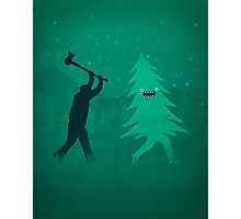 Funny Cartoon Christmas tree is chased by Lumberjack / Run Forrest, Run! Photographic Print