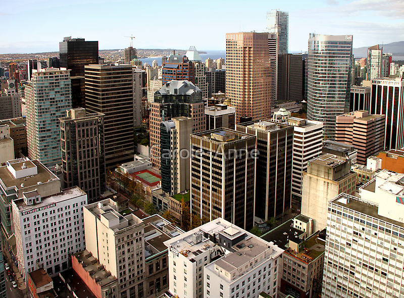 Downtown Skyscrapers from Harbour Tower, Vancouver City, Canada  by Carole-Anne
