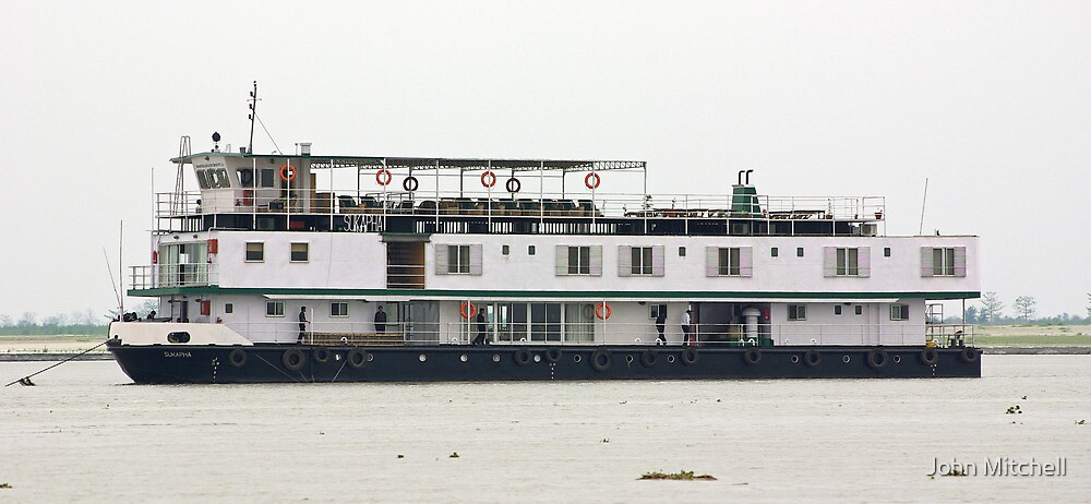 The RV Sukapha at anchor, Brahmaputra River, Assam, India by John Mitchell