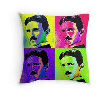 Nikola Tesla Pop Art Throw Pillow