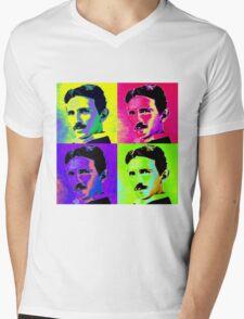 Nikola Tesla Pop Art Mens V-Neck T-Shirt